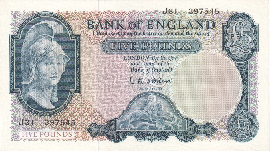 Bank Of England 5 Pound Notes To 1970 Pounds From 1961