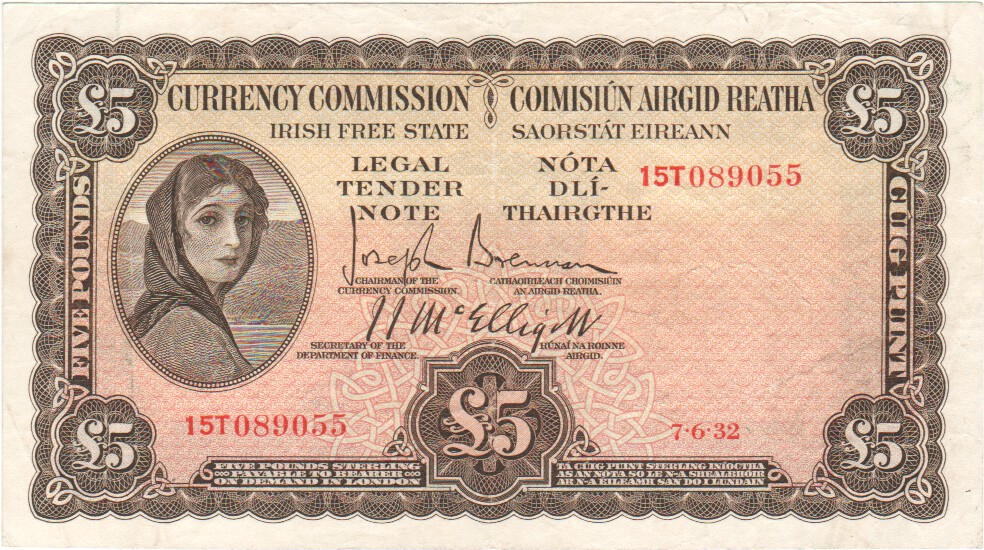 Southern Ireland 5 Pounds 7 6 1932