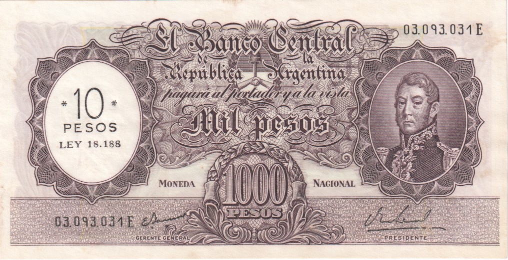 ARGENTINA 1 PESO ND 1952 P 260 UNC PACK OF 10 NOTES 10 PCS