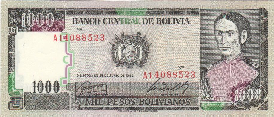 Bolivia 1000 Pesos Bol 1982