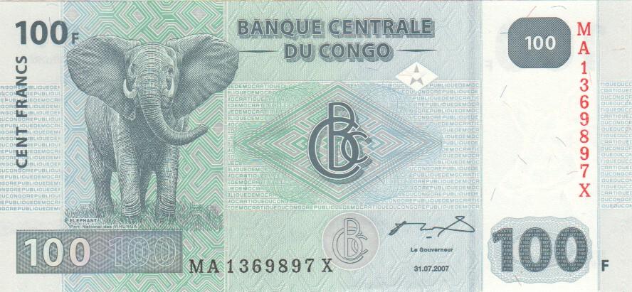 Congo Dem P 98-100 Francs 2007 Printer HdM Rep UNC